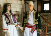 Traditional dresses deployed in a restaurant hall